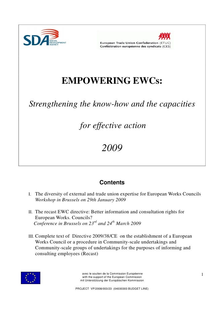 EMPOWERING EWCs:  Strengthening the know-how and the capacities                           for effective action            ...