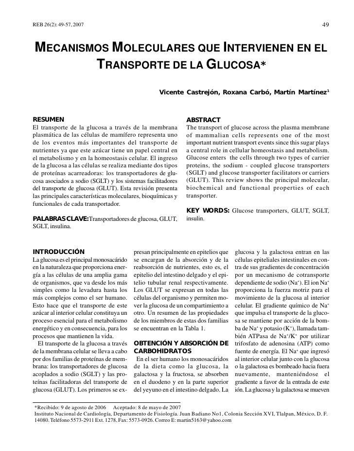 Mecanismos Moleculares que intervienen en el Tx de la Glucosa