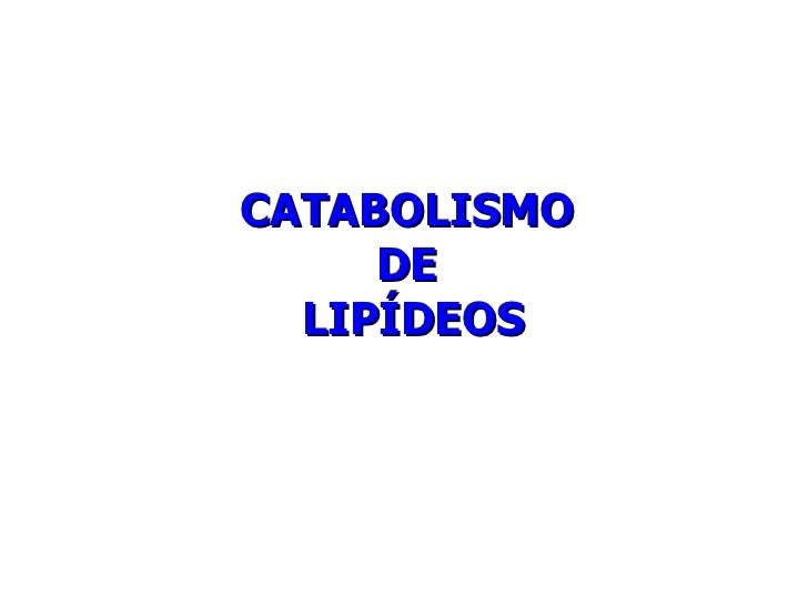 CATABOLISMO  DE  LIPÍDEOS