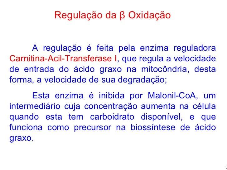 Regulação da β Oxidação A regulação é feita pela enzima reguladora  Carnitina-Acil-Transferase I , que regula a velocidade...