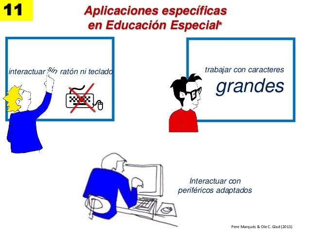 trabajar con caracteres grandes  interactuar ratón ni teclado Pere Marquès & Ole C. Glad (2013) Aplicaciones específicas...