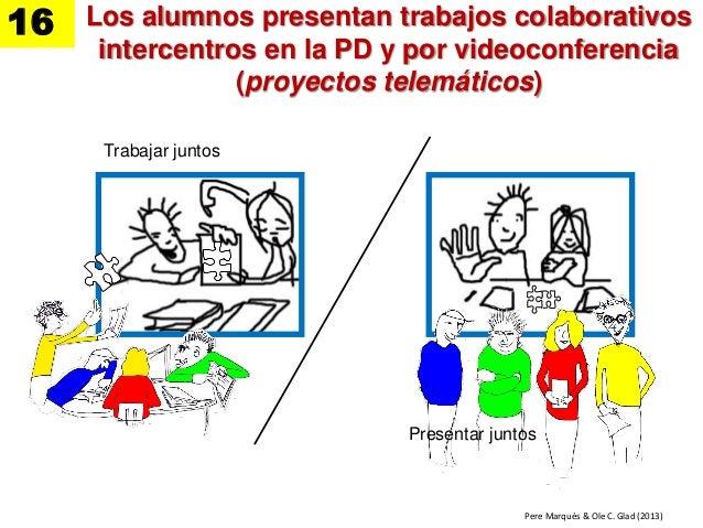 Los alumnos presentan trabajos colaborativos intercentros en la PD y por videoconferencia (proyectos telemáticos) Trabajar...