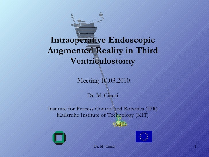Intraoperative Endoscopic Augmented Reality in Third Ventriculostomy  Meeting 10.03.2010 Dr. M. Ciucci Institute for Proce...