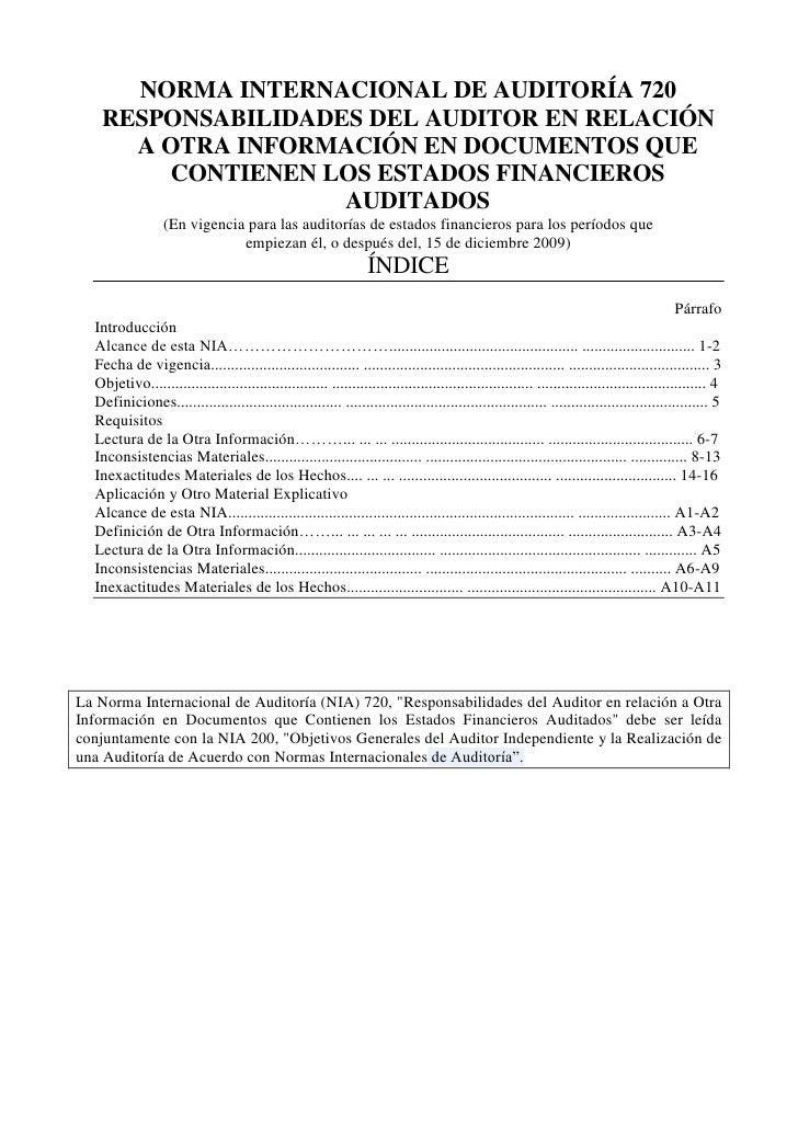 NORMA INTERNACIONAL DE AUDITORÍA 720 <br />RESPONSABILIDADES DEL AUDITOR EN RELACIÓN A OTRA INFORMACIÓN EN DOCUMENTOS QUE ...