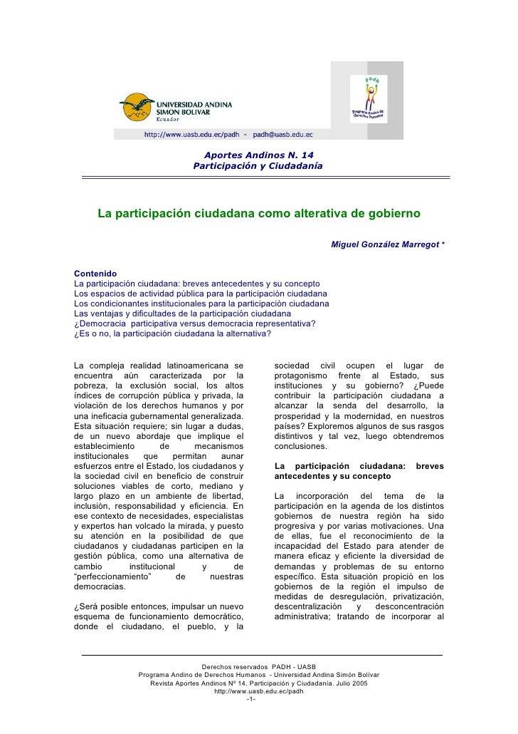 Aportes Andinos N. 14                                  Participación y Ciudadanía           La participación ciudadana com...