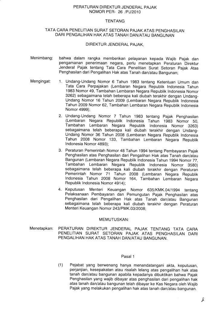 PERATURAN DIREKTUR JENDERAL PAJAK                                NOMOR PER- 26 IPJIaO1O                                   ...