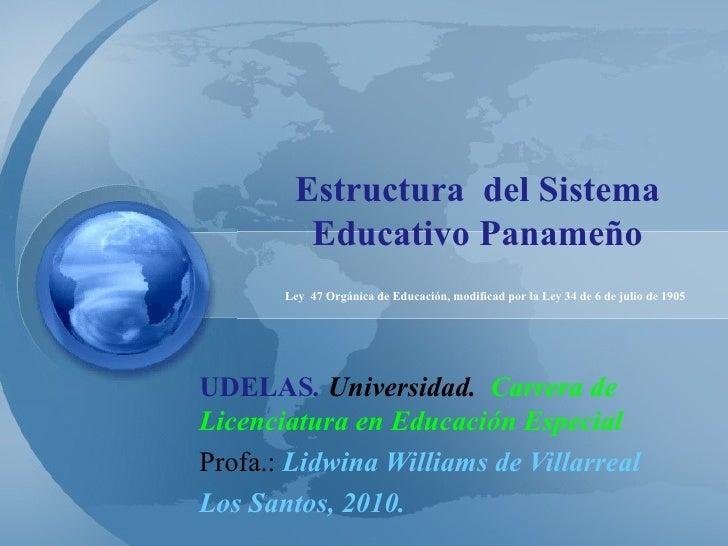 Estructura  del Sistema Educativo Panameño UDELAS .  Universidad.  Carrera de Licenciatura en Educación Especial Profa.:  ...