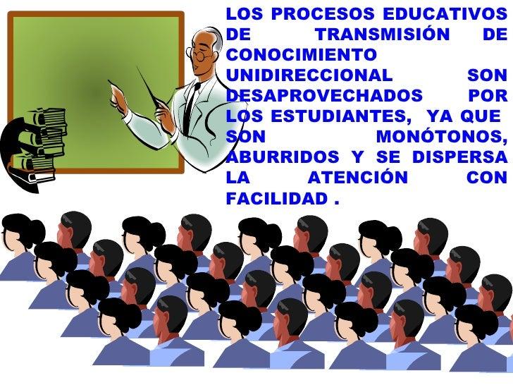 LOS PROCESOS EDUCATIVOS DE  TRANSMISIÓN DE CONOCIMIENTO UNIDIRECCIONAL SON DESAPROVECHADOS POR LOS ESTUDIANTES,  YA QUE  S...