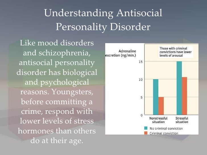 understanding anti social personality disorder This chapter discusses the medical understanding of antisocial personality disorder (apsd), including research concerning its etiology, prevalence, pathology, differential diagnosis, and treatment .