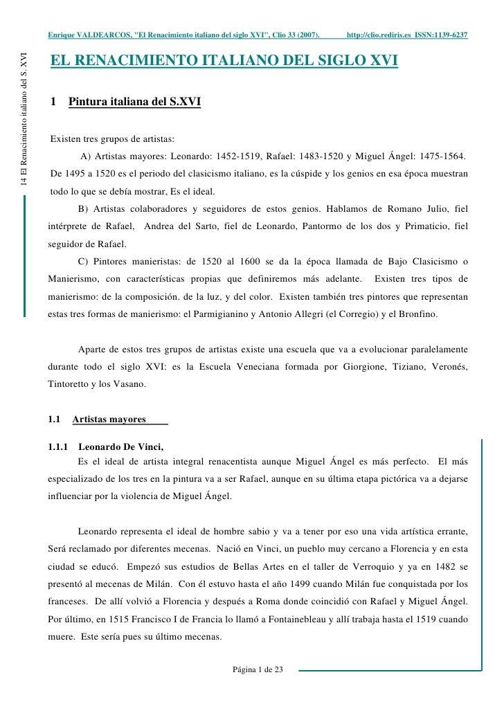 """Enrique VALDEARCOS, """"El Renacimiento italiano del siglo XVI"""", Clio 33 (2007).   http://clio.rediris.es ISSN:1139-6237 14 E..."""