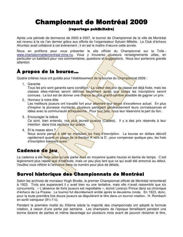 Championnat de Montréal 2009                                    (reportage publicitaire)  Après une période de dormance de...