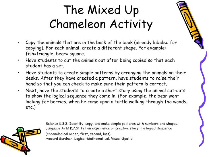 The mixed up chameleon activities