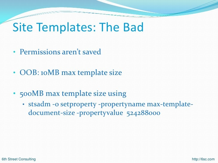 sharepoint 2007 site templates