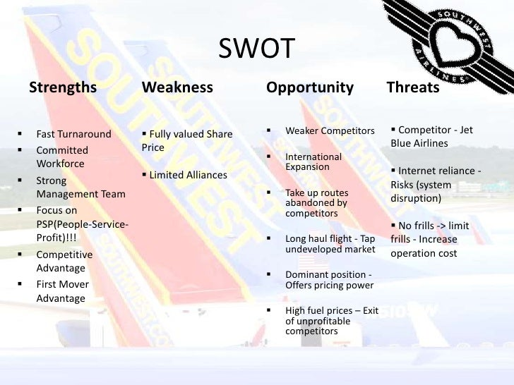 swot southwest airlines Southwest airlines swot analysis southwest airlines is not a new airline but it has become relatively more popular in the last few years because of its unique cost cutting methods and its ability to make profits despite being the cheapest airline in the us due to its unique operating strategies, southwest airlines has been able to get an edge over other airlines and has managed to stay .