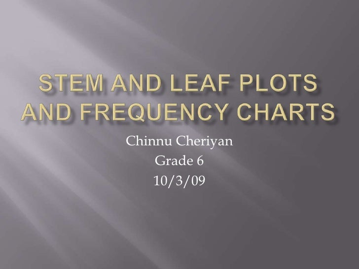 Stem and Leaf Plots and Frequency Charts<br />Chinnu Cheriyan<br />Grade 6<br />10/3/09<br />