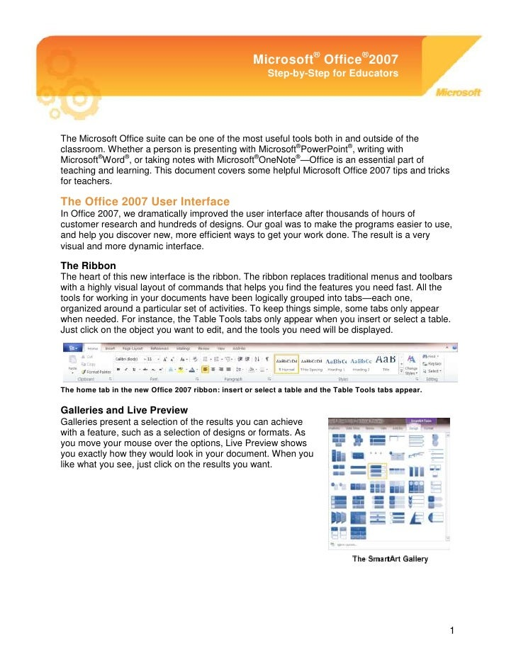 -899632-2011680Microsoft® Office® 2007 Step-by-Step for EducatorsThe Microsoft Office suite can be one of the most useful ...