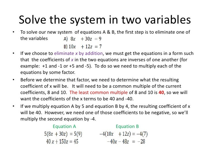 Systems of 3 Equations in 3 Variables