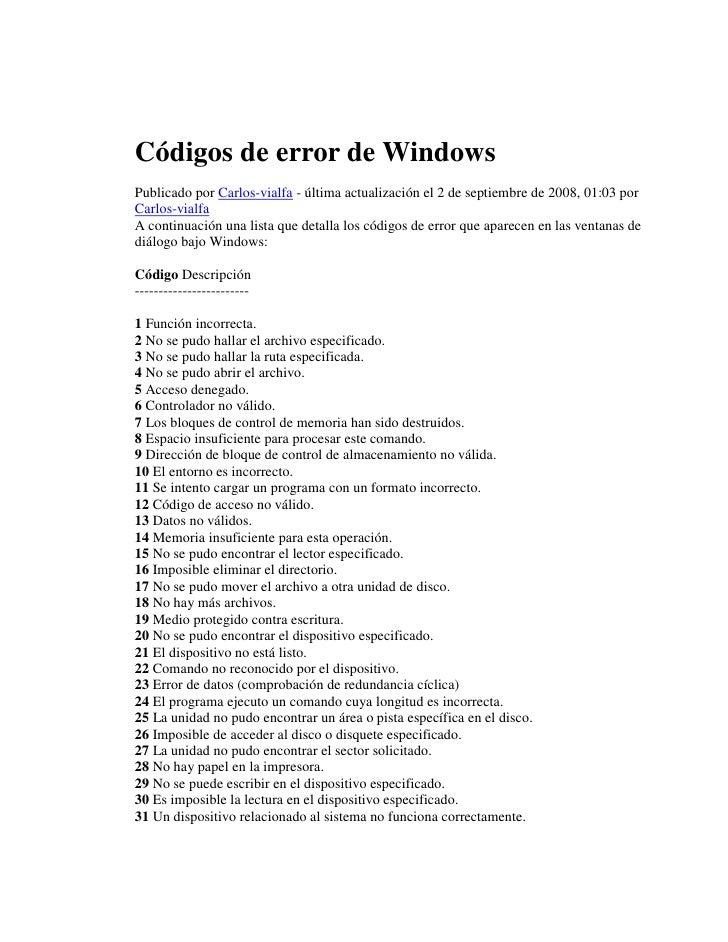 Códigos de error de Windows Publicado por Carlos-vialfa - última actualización el 2 de septiembre de 2008, 01:03 por Carlo...