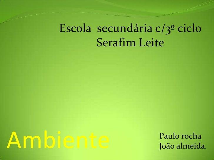 Escola  secundária c/3º ciclo   Serafim Leite <br />Ambiente<br />Paulo rocha  <br />João almeida.<br />