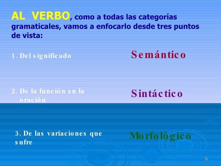 AL  VERBO , como a todas las categorías gramaticales, vamos a enfocarlo desde tres puntos de vista: 1. Del significado 2. ...