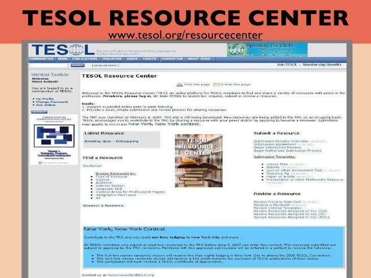 TESOL RESOURCE CENTER www.tesol.org/resourcecenter