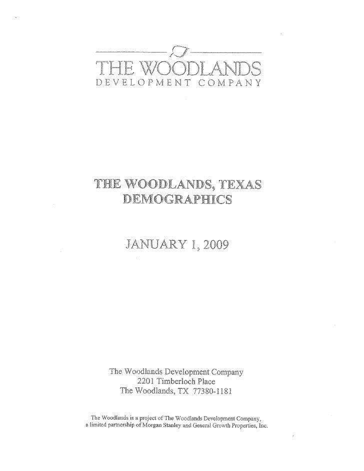 The Woodlands, TX Demographic Report-January 2009