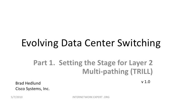 Evolving Data Center Switching<br />Part 1.  Setting the Stage for Layer 2 Multi-pathing (TRILL)<br />v 1.0<br />Brad Hedl...