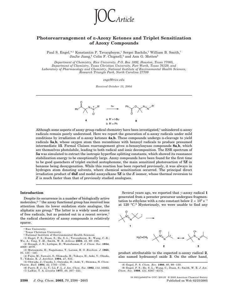 Photorearrangement of r-Azoxy Ketones and Triplet Sensitization                                  of Azoxy Compounds       ...