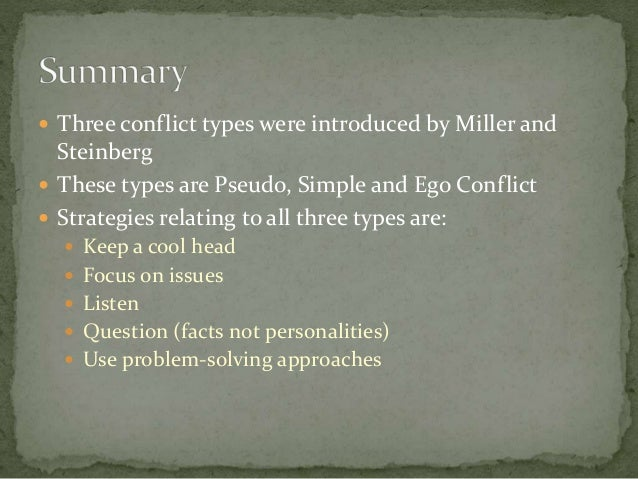  Three conflict types were introduced by Miller and Steinberg  These types are Pseudo, Simple and Ego Conflict  Strateg...
