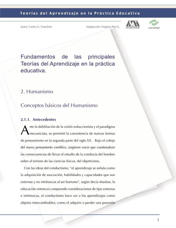 Teorías del Aprendizaje en la Práctica Educativa   Autor: Carlos G. Franchini                     Adaptación: Virginia Poo...