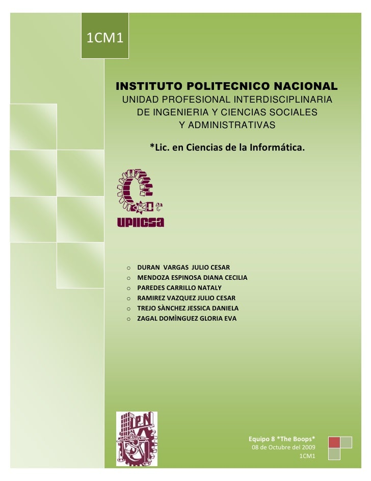 INSTITUTO POLITECNICO NACIONAL UNIDAD PROFESIONAL INTERDISCIPLINARIA DE INGENIERIA Y CIENCIAS SOCIALESY ADMINISTRATIVAS*Li...