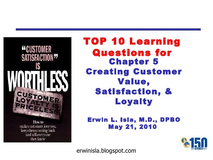 TOP 10 Learning Questions for Chapter 5 Creating Customer Value, Satisfaction, & Loyalty Erwin L. Isla, M.D., DPBO May 21,...