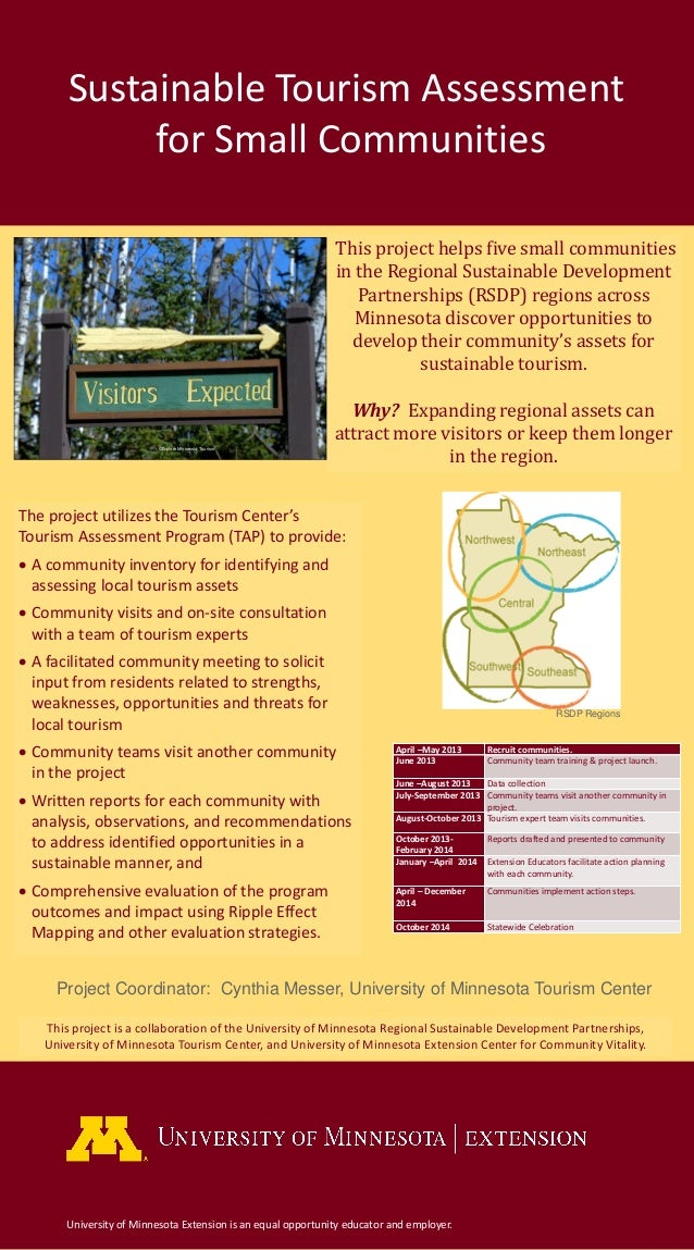 Sustainable Tourism Assessmentfor Small CommunitiesUniversity of Minnesota Extension is an equal opportunity educator and ...