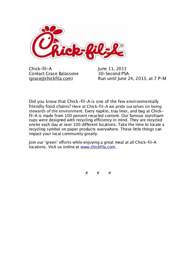 Chick-fil-A June 11, 2013Contact Grace Balassone 30-Second PSA(grace@chickfila.com) Run until June 24, 2013, at 7 P-MDid y...