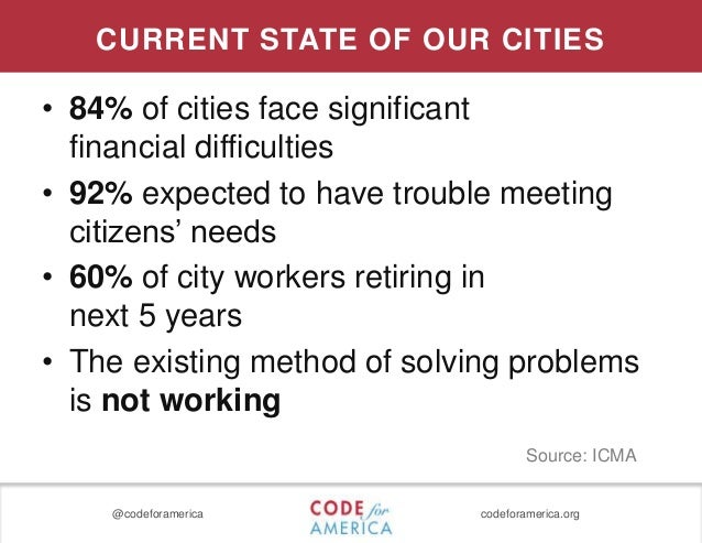 @codeforamerica codeforamerica.org CURRENT STATE OF OUR CITIES • 84% of cities face significant financial difficulties • 9...