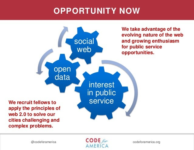 @codeforamerica codeforamerica.org OPPORTUNITY NOW interest in public service open data social web We recruit fellows to a...