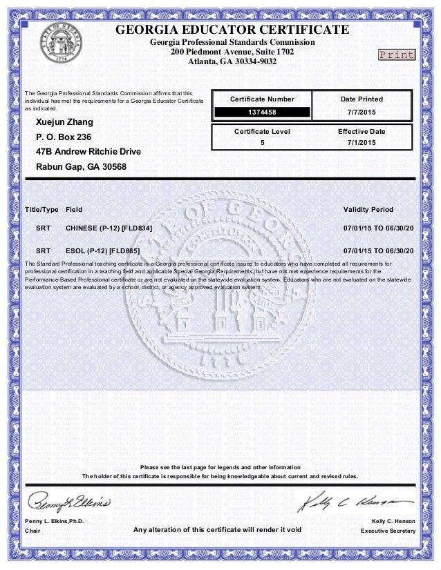ga renewable teaching certificate--chineses and esl
