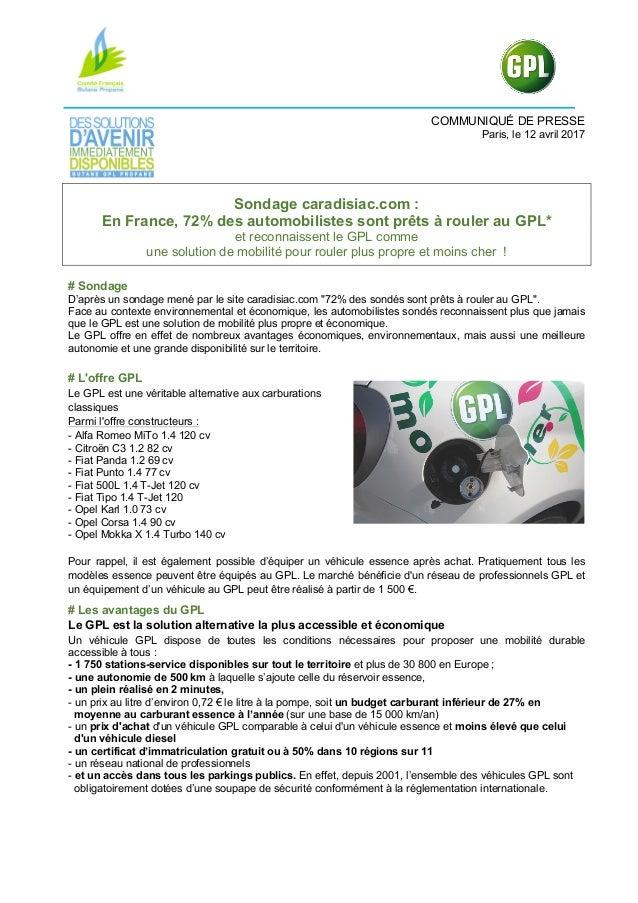 COMMUNIQUÉ DE PRESSE Paris, le 12 avril 2017 Sondage caradisiac.com : En France, 72% des automobilistes sont prêts à roule...