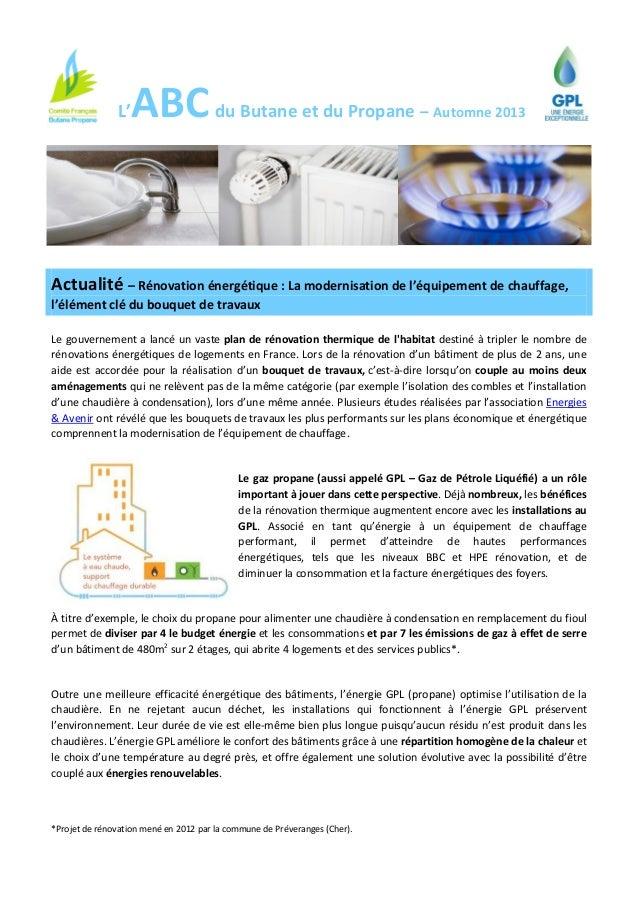 L'  ABC du Butane et du Propane  – Automne 2013  Actualité – Rénovation énergétique : La modernisation de l'équipement de ...