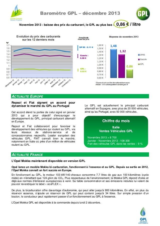 Baromètre GPL – décembre 2013 Novembre 2013 : baisse des prix du carburant, le GPL au plus bas :  0,86 € / litre  ACTUALIT...