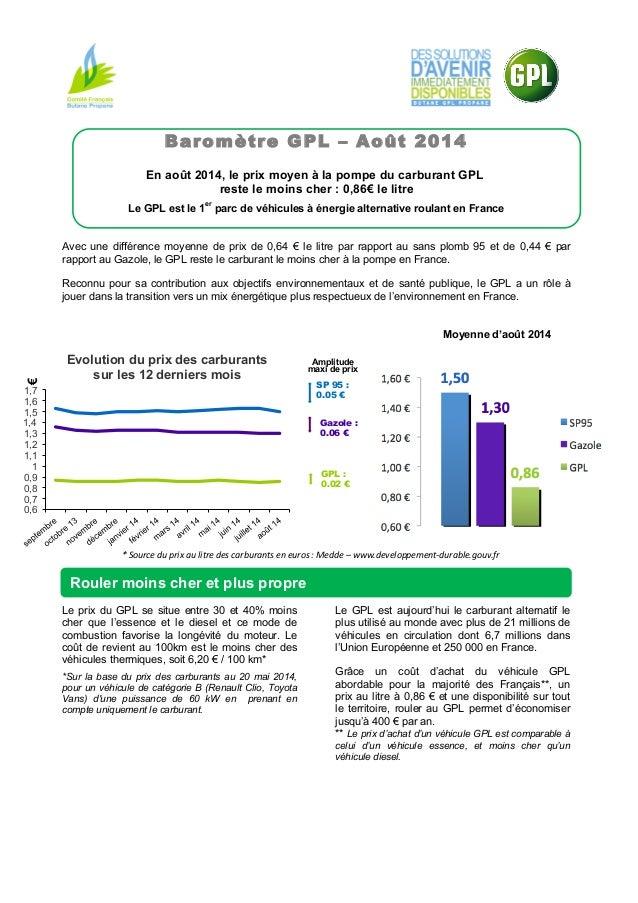 €  1,7  1,6  1,5  1,4  1,3  1,2  1,1  1  0,9  0,8  0,7  0,6  Baromètre GPL – Août 2014  En août 2014, le prix moyen à la p...