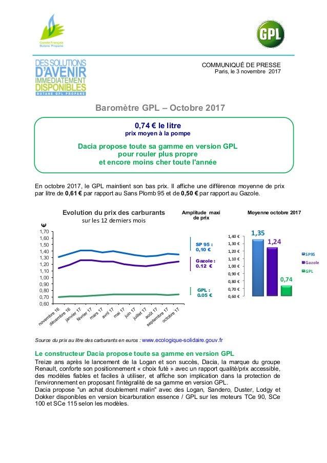 COMMUNIQUÉ DE PRESSE Paris, le 3 novembre 2017 Baromètre GPL – Octobre 2017 0,74 € le litre prix moyen à la pompe Dacia pr...