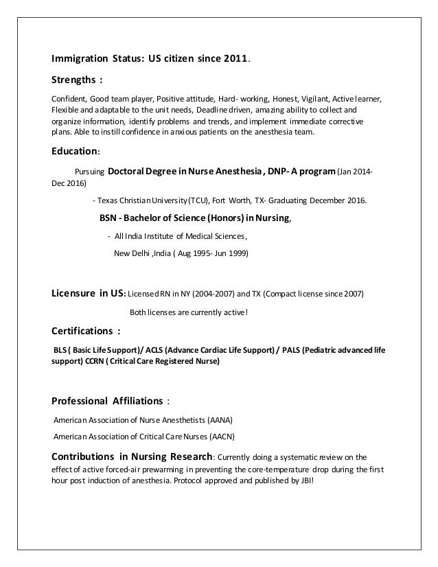 Nurse Anesthesia Resume. clinical research resume example. crna ...