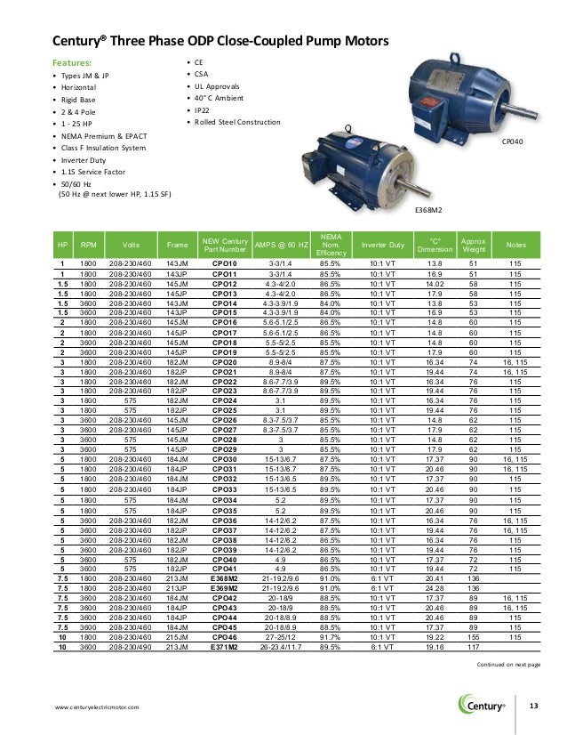 Century Motors Bulletin 1505b Single