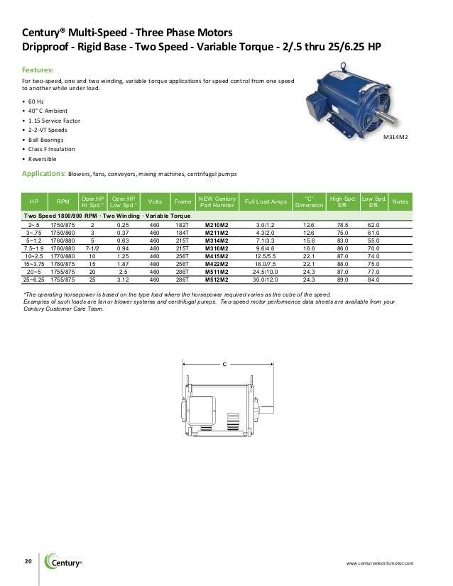 Century Motors Bulletin 1505B_Single-ThreePhase_Integral_HP on