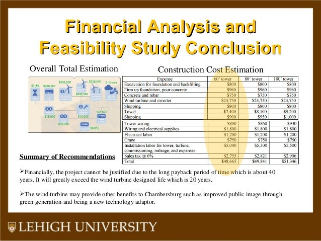Financial Analysis andFinancial Analysis and Feasibility Study ConclusionFeasibility Study Conclusion Overall Total Estima...