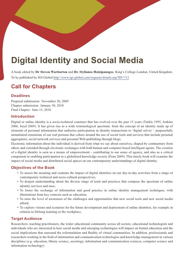 Digital Identity and Social Media A book edited by Dr Steven Warburton and Dr. Stylianos Hatzipanagos, King's College Lond...