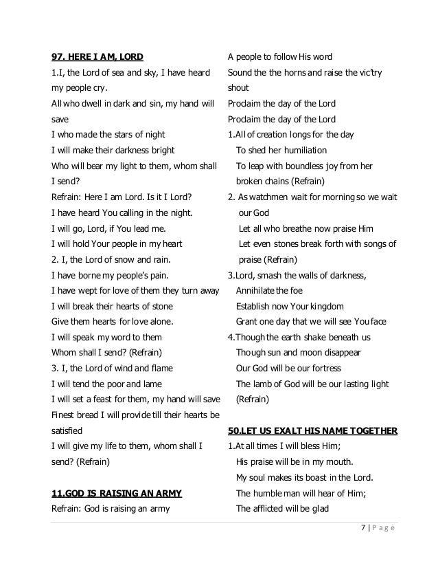 Religious songs lyrics english