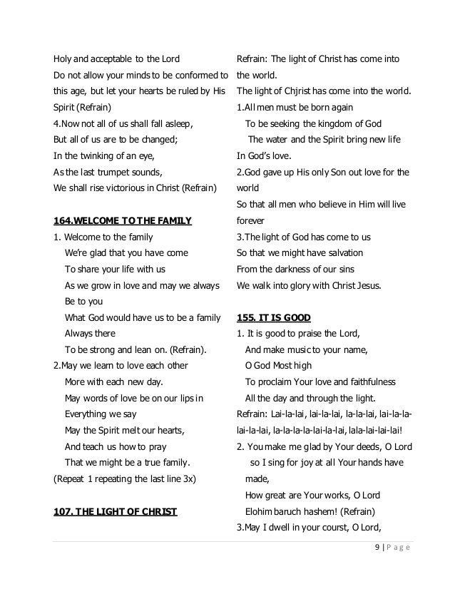 Lyric lyrics to family of god : CFC CHRISTIAN SONGS LYRICS