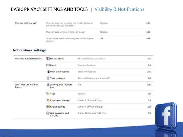 BASIC PRIVACY SETTINGS AND TOOLS  Visibility & Notifications